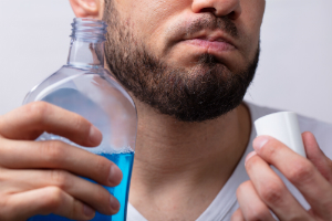 Man with Mouthwash